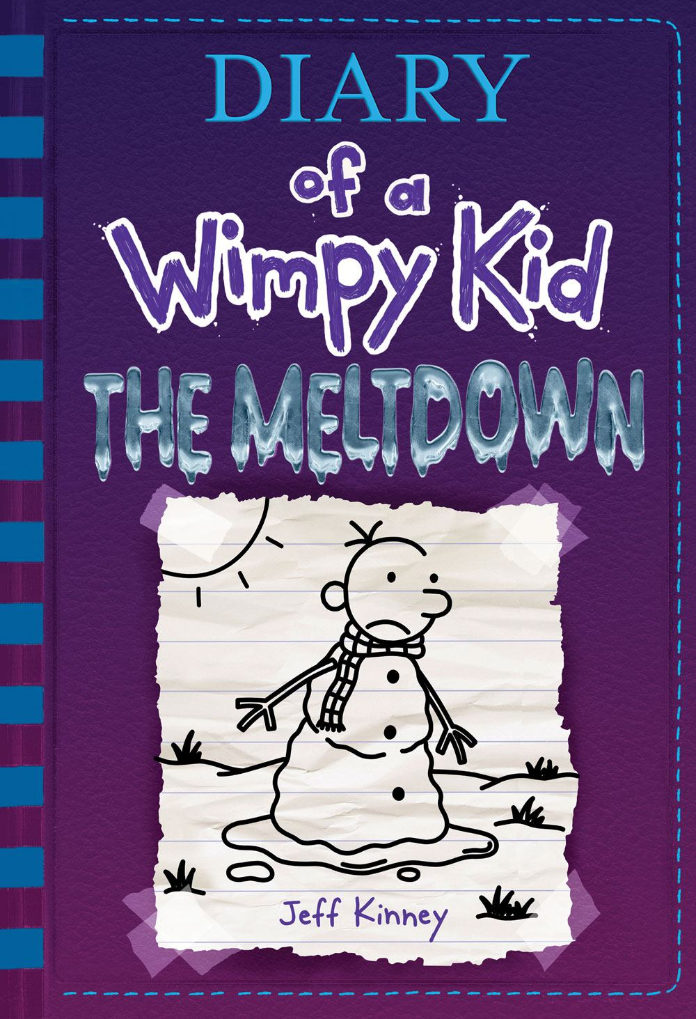 book cover of Diary of a Wimpy Kid The Meltdown. Snowman melting in sun.